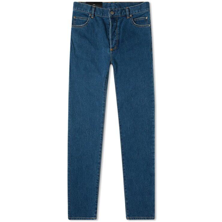 Balmain Monogram Embossed Pocket Slim Jeans 'Mid Wash Blue'
