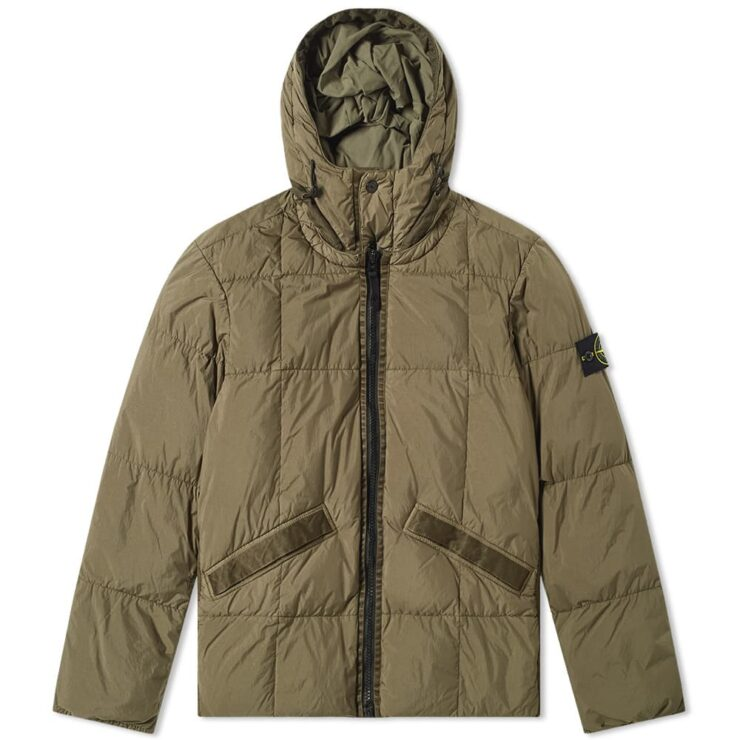 Stone Island Crinkle Reps Hooded Down Jacket 'Green'