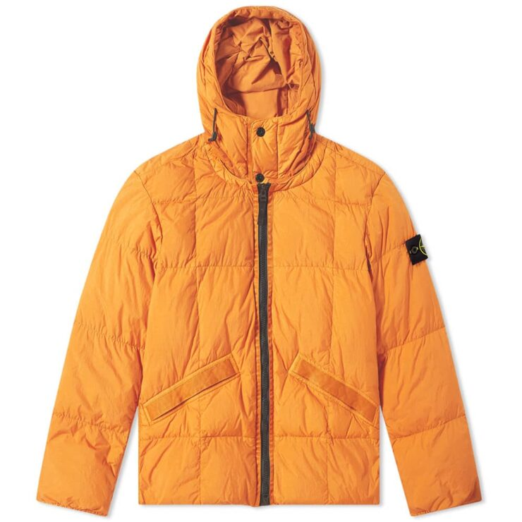 Stone Island Crinkle Reps Hooded Down Jacket 'Orange'
