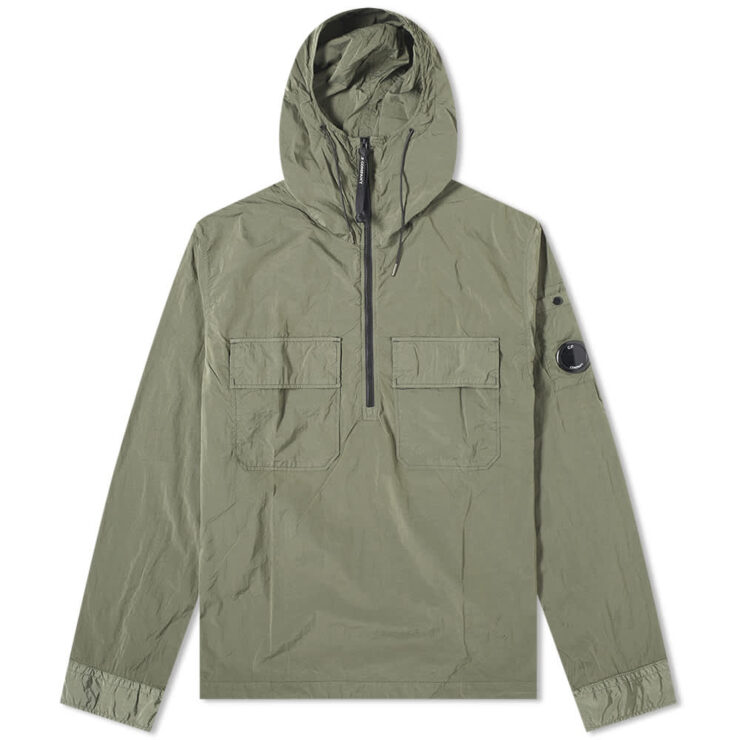 C.P. Company Nylon Arm Lens Hooded Overshirt 'Burnt Olive'