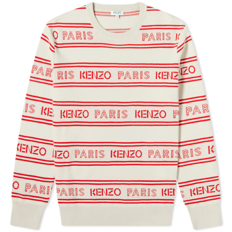 Kenzo Jacquard All-Over Logo Knitted Crewneck 'Off White'