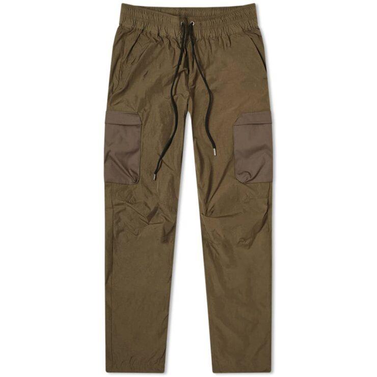John Elliott High Shrunk Nylon Cargo Pants 'Olive'