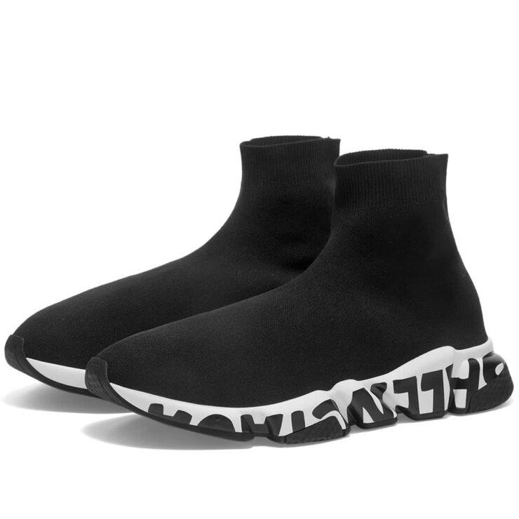 Balenciaga Sole Logo Speed Runner Sneakers 'Black & White'