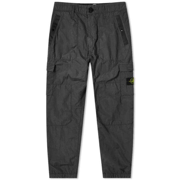 Stone Island Seersucker Nylon Cargo Pants 'Black'