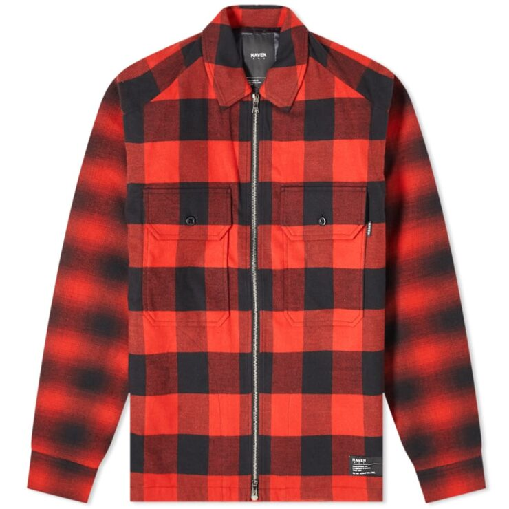 HAVEN Mechanic Insulated Flannel Overshirt 'Red'