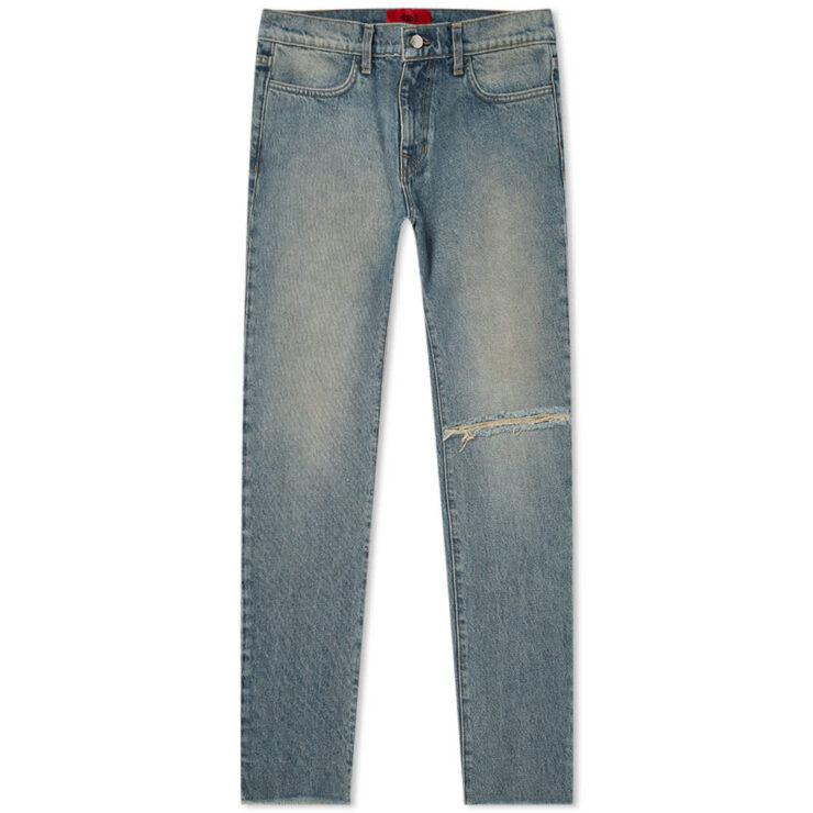 424 Distressed Straight Leg Jeans ' Light Indigo'