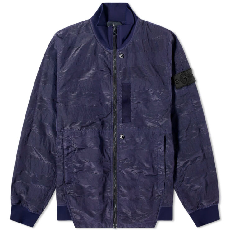 Stone Island Shadow Project Striped Nylon Metal Bomber Jacket 'Navy'