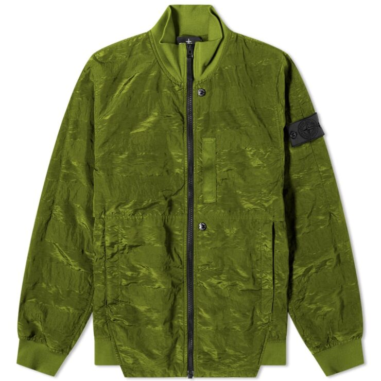 Stone Island Shadow Project Striped Nylon Metal Bomber Jacket 'Olive'