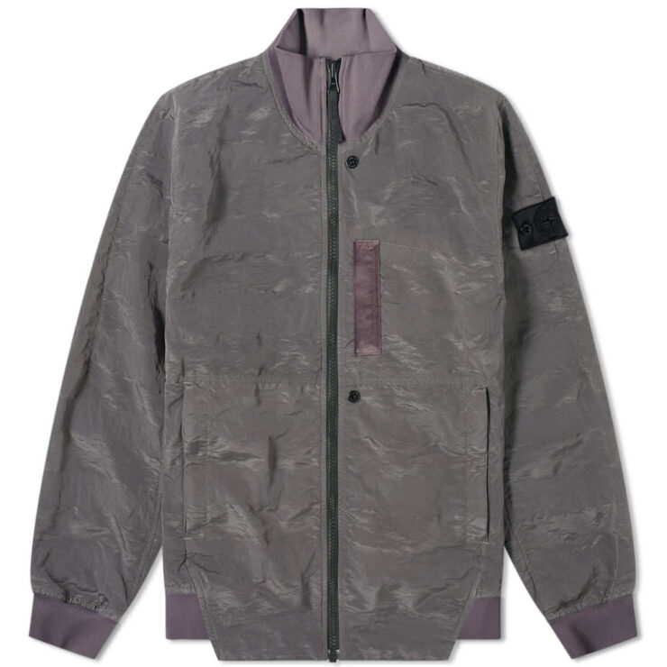 Stone Island Shadow Project Striped Nylon Metal Bomber Jacket 'Pewter'