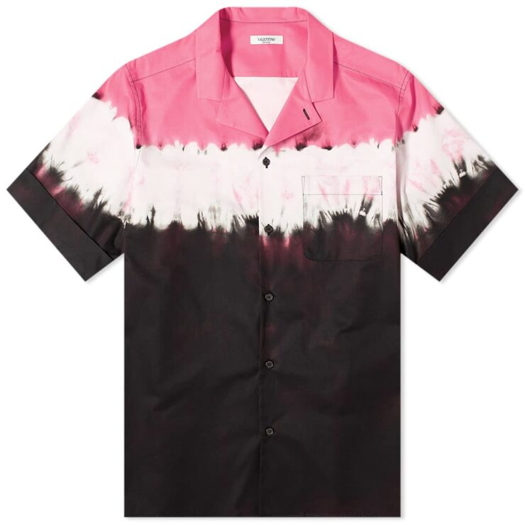 Valentino Block Tie-Dye Vacation Shirt 'White, Pink & Black'