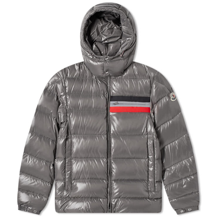 Moncler Mounier Tricolore Band Hooded Down Jacket 'Grey'