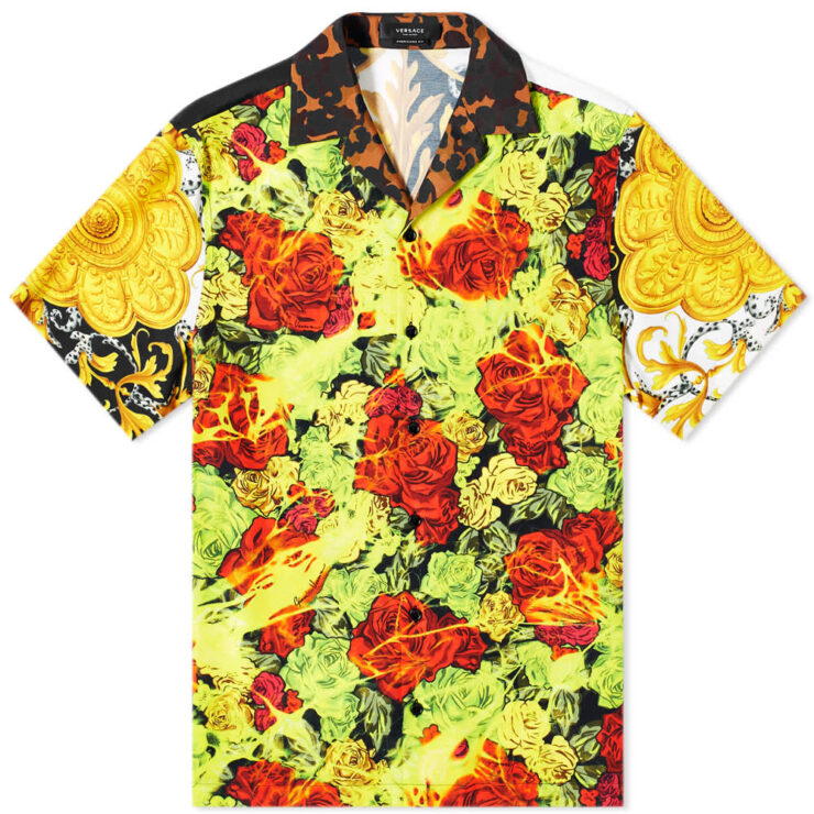 Versace All Over Print Vacation Shirt 'White, Black & Gold'
