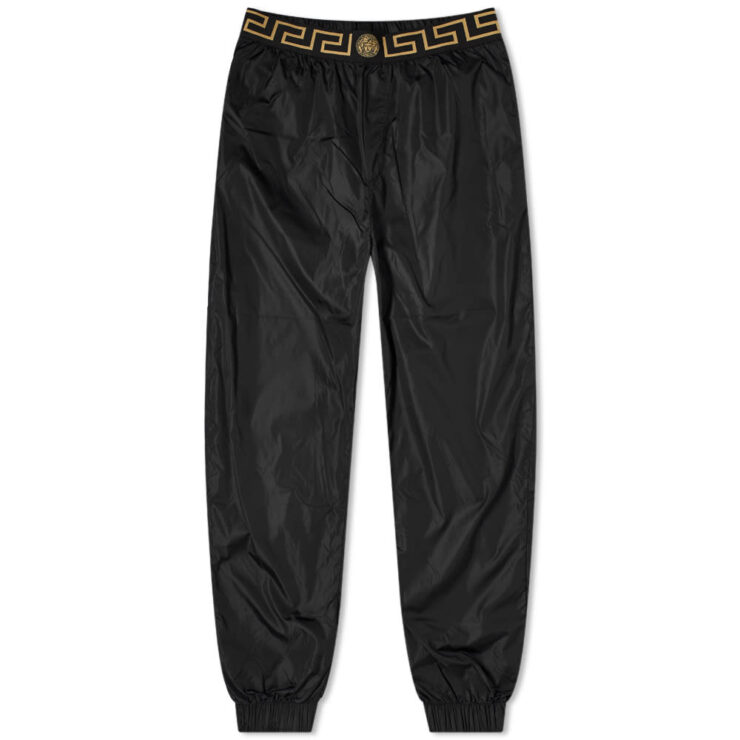 Versace Nylon Greek Band Trackpants 'Black'