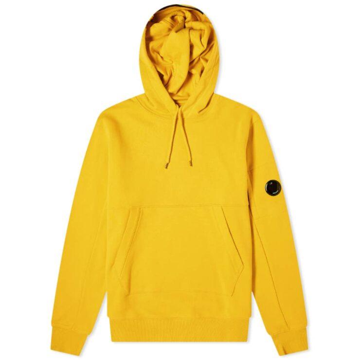 C.P. Company Diagonal Fleece Arm Lens Logo Hoody 'Yellow'
