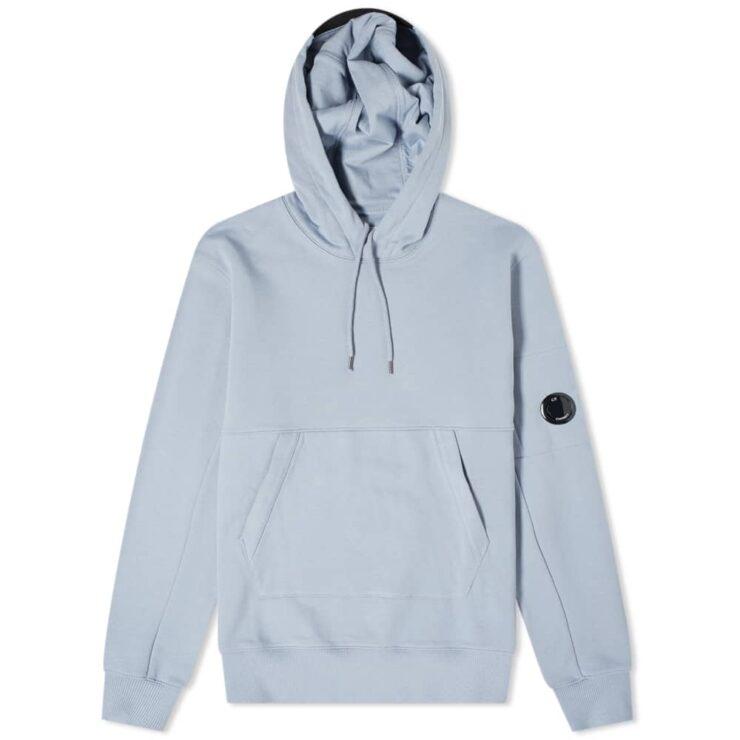 C.P. Company Diagonal Fleece Arm Lens Logo Hoody 'Blue'