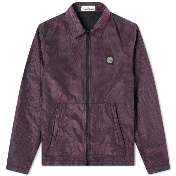 Stone Island Seersucker Nylon Overshirt 'Purple'