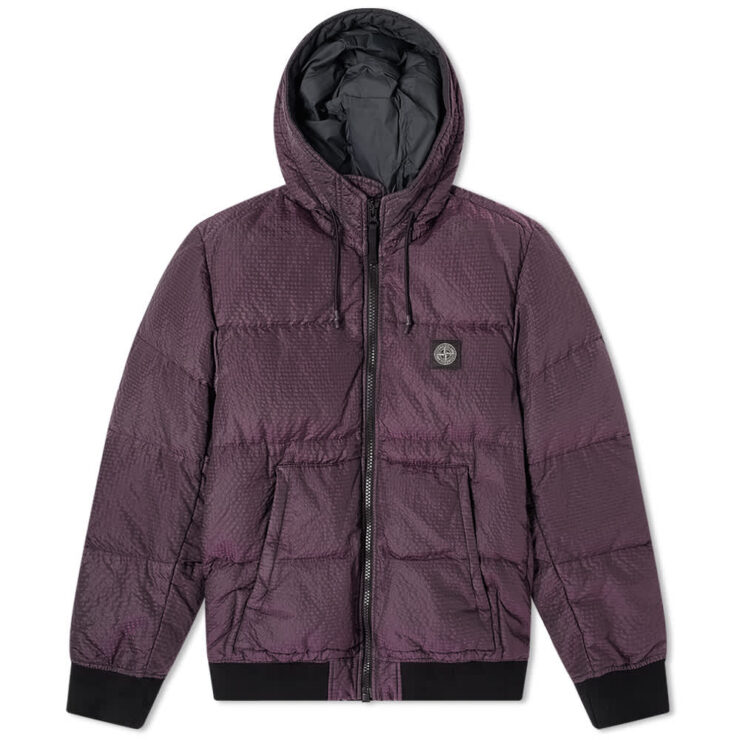 Stone Island Seersucker Nylon Down Jacket 'Purple'
