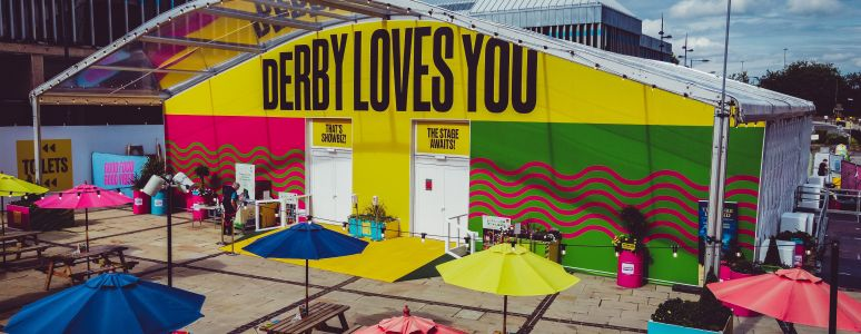 Derby Love You venue exterior from Market Place