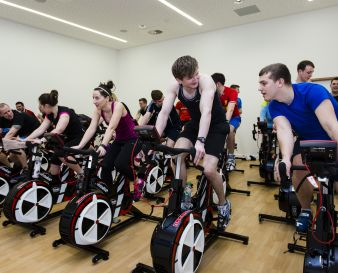 Group on indoor cycles
