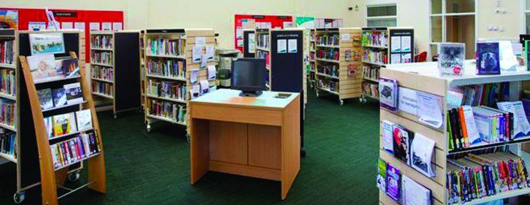 Bookshelves at Chaddesden Library