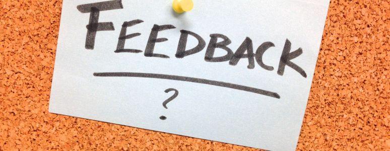 Feedback note on corkboard