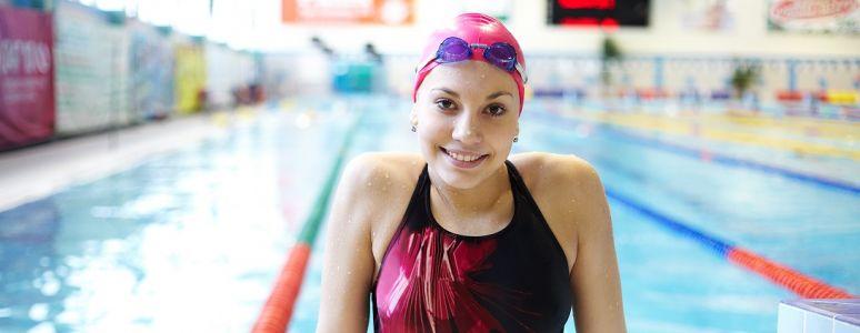 Female swimmer in lane pool