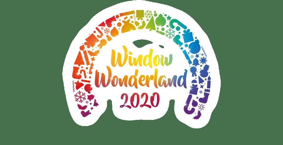 Window Wonderland rainbow artwork with festive symbols in rainbow colours