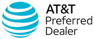 AT&T internet across the globe Logo and an authorized dealer stamp