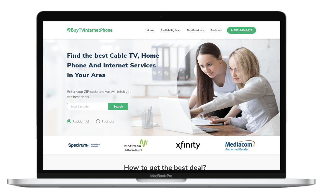 A laptop that shows buytvinternetphone.com tool to find the best internet service providers