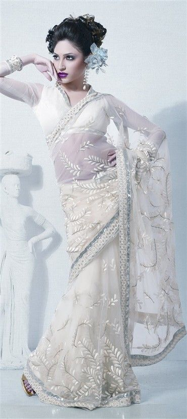 cd394e341214e8 67167:White and Off White color family Saree with matching ...
