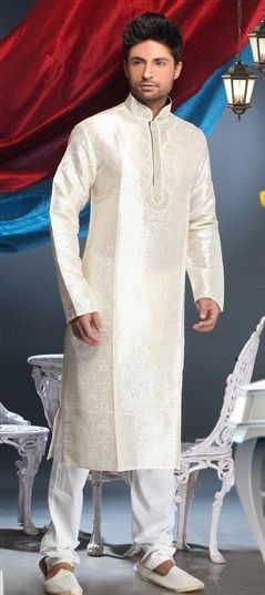 12453: White and Off White color Kurta Pyjamas in Brocade fabric with Embroidered, Thread, Zari work