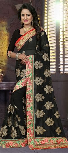 6aedc6bc833aa 1513771  Party Wear Black and Grey color Saree in Georgette fabric with  Border