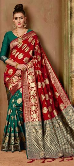 2a3a0f89b8 Green - Banarasi Silk - Weaving - Sarees: Shop online Bridal Wedding ...