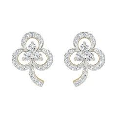 321970 Silver  color family Earrings in Metal Alloy Metal with CZ Diamond stone  and Gold Rodium Polish work