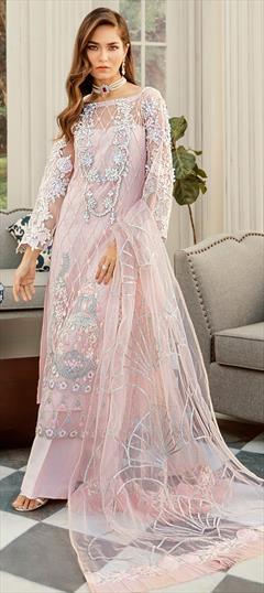 Magenta Pink Long Frock Kameez Suit With Pant Salwar Dupatta Handmade Dress Party Wear Indian Pakistani Style Dress For Women  girls