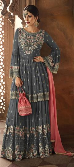 children Fancy partywear Embroidered Sharara  suit 3pc for weddings and parties