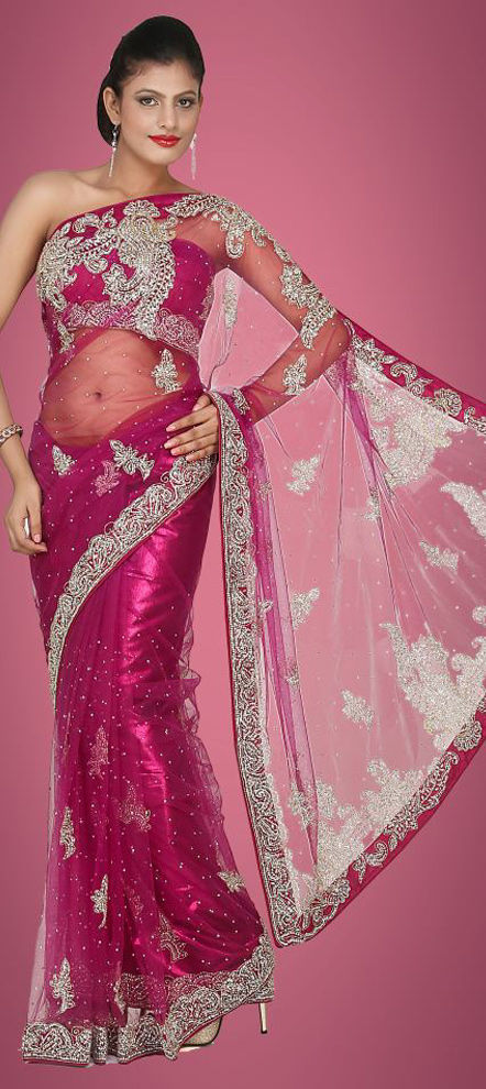 116017 Pink And Majenta Color Family Saree With Matching