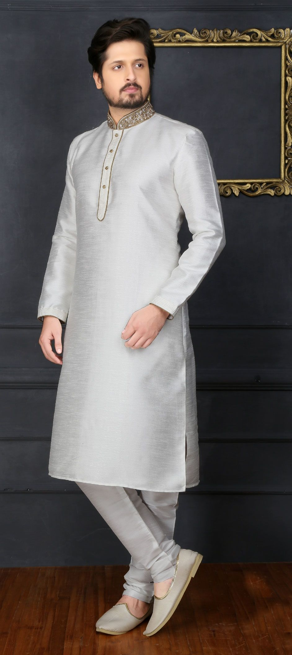 f87aae6f857 1500446  White and Off White color Banarasi Silk fabric Kurta Pyjamas