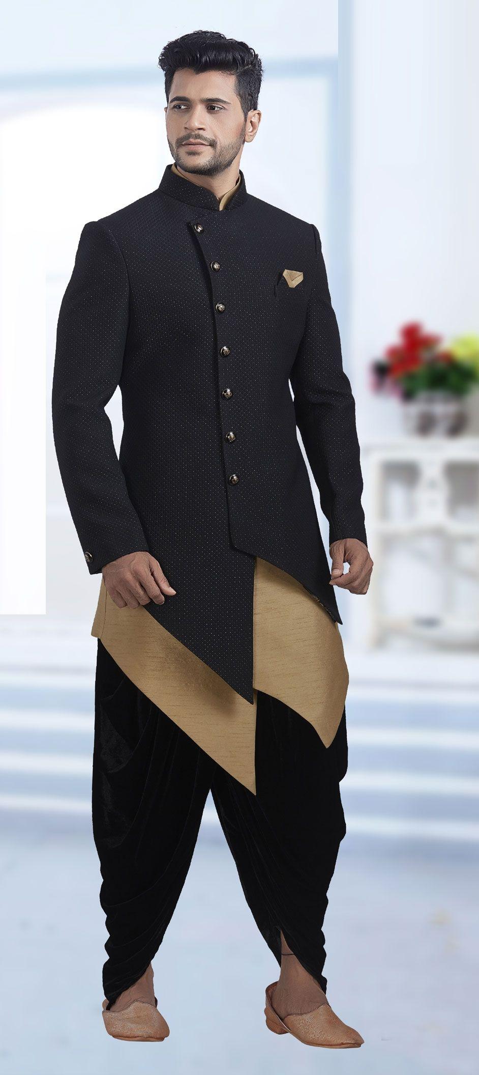 0d47e8398e18 1501318: Black and Grey color Jacquard fabric IndoWestern Dress