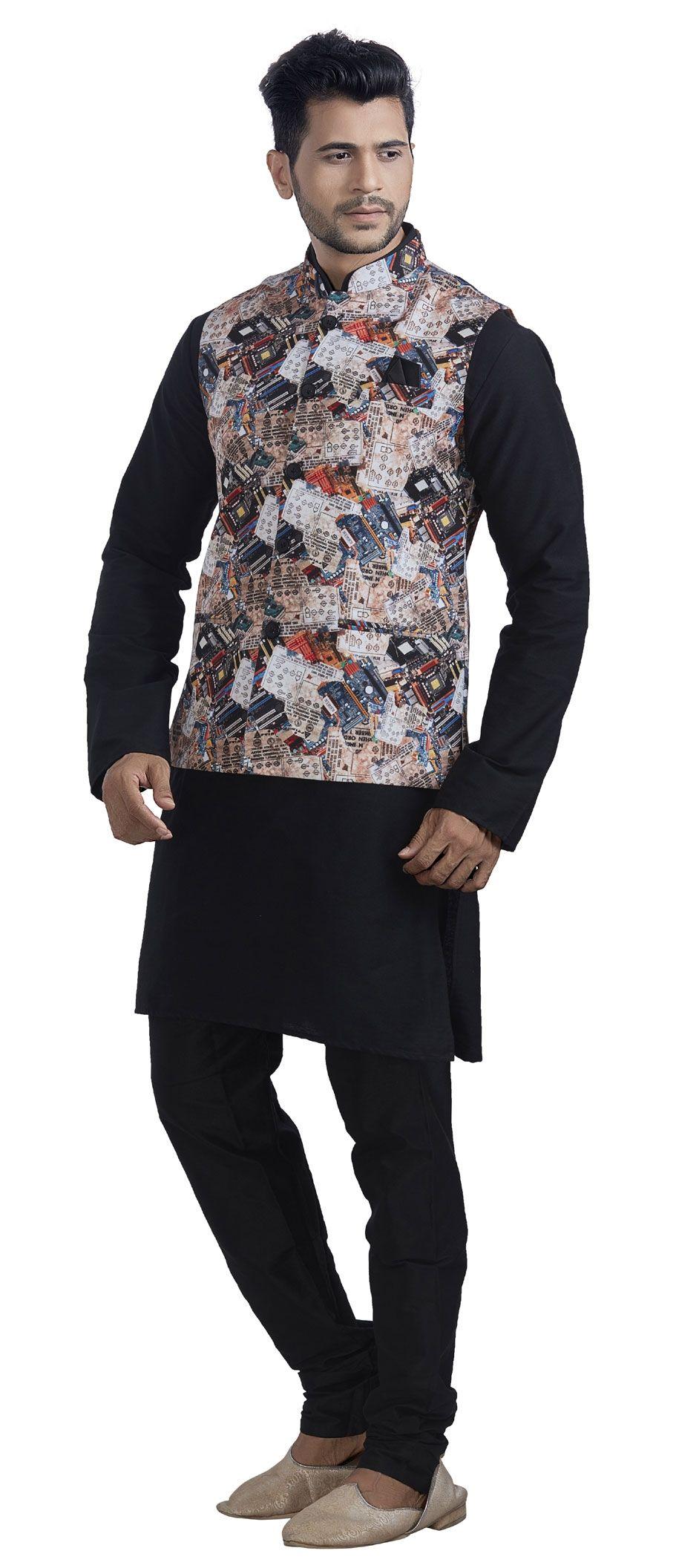 af30cca7d9 1501474: Black and Grey color Jute, Silk fabric Kurta Pyjama with Jacket