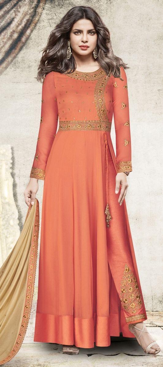 5167576372 1501899: Casual Orange color Georgette fabric Salwar Kameez