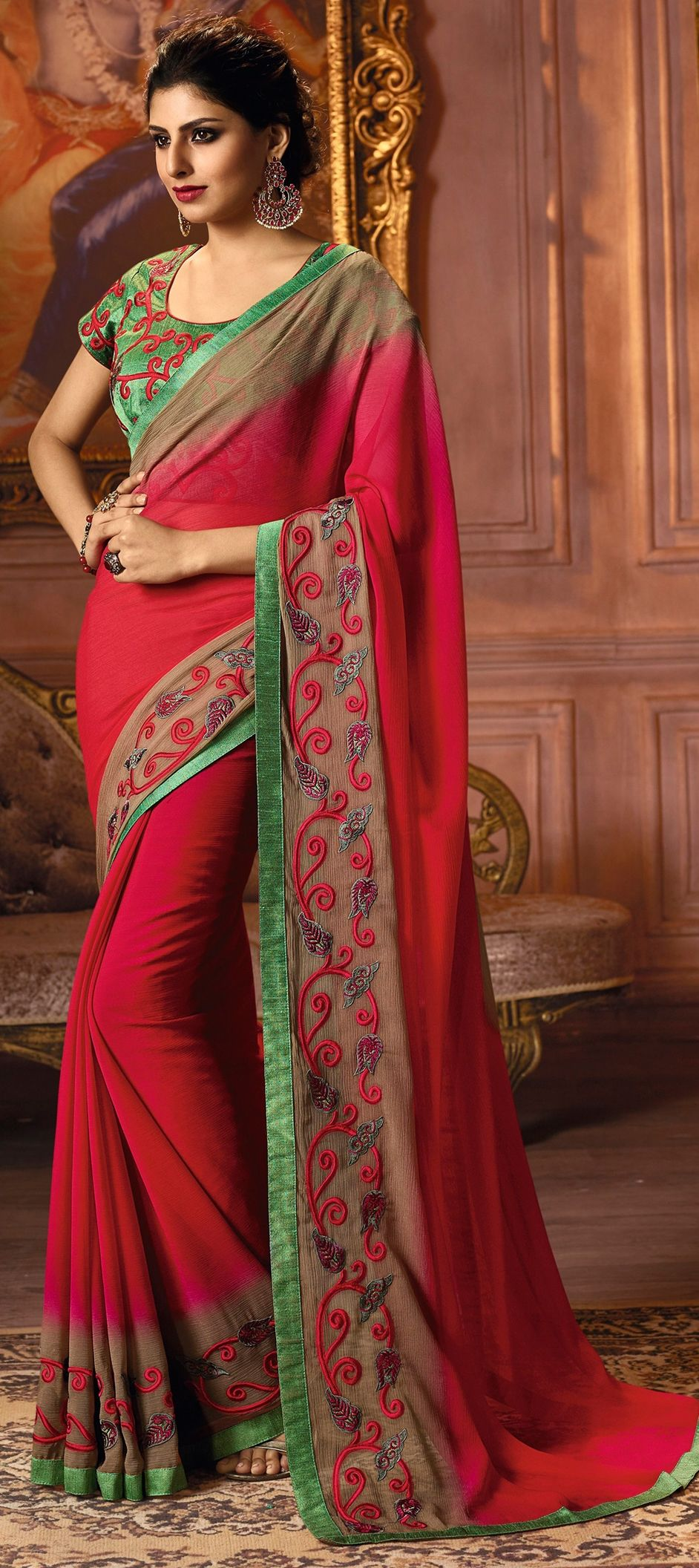 cd38cdbbd579ab 1505710: Party Wear Red and Maroon color Chiffon fabric Sarees