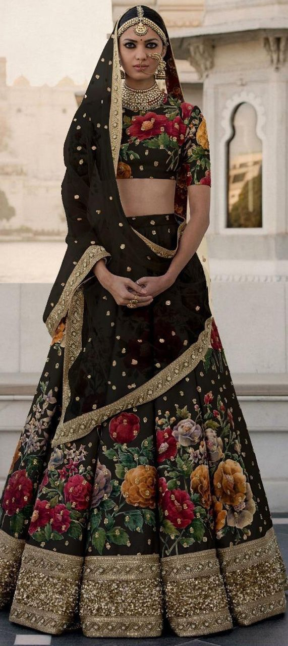 3c53e4cf687ada 1507520: Wedding Black and Grey color Art Silk fabric Lehenga