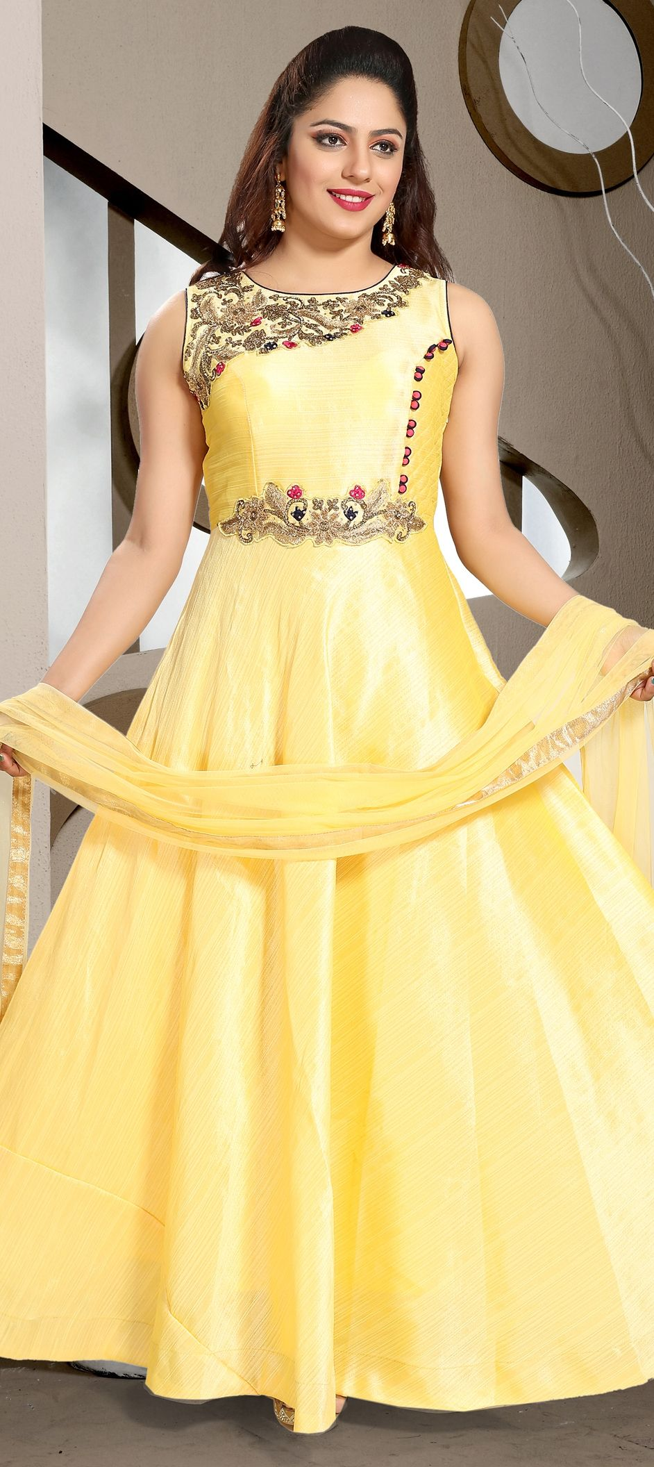 193e01ecd3 1511629: Wedding Yellow color Art Silk fabric Gown