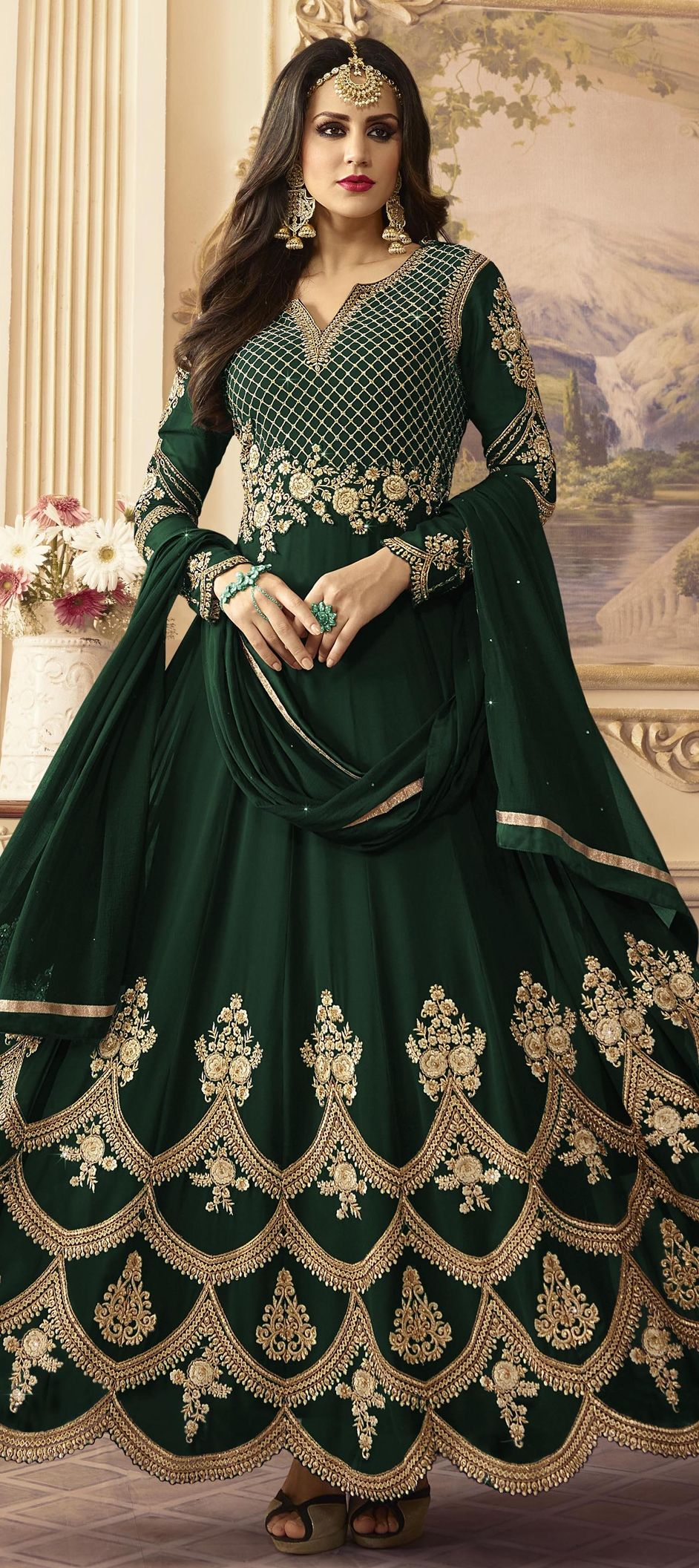 3ac8826857 1513039: Bridal Green color Georgette fabric Salwar Kameez