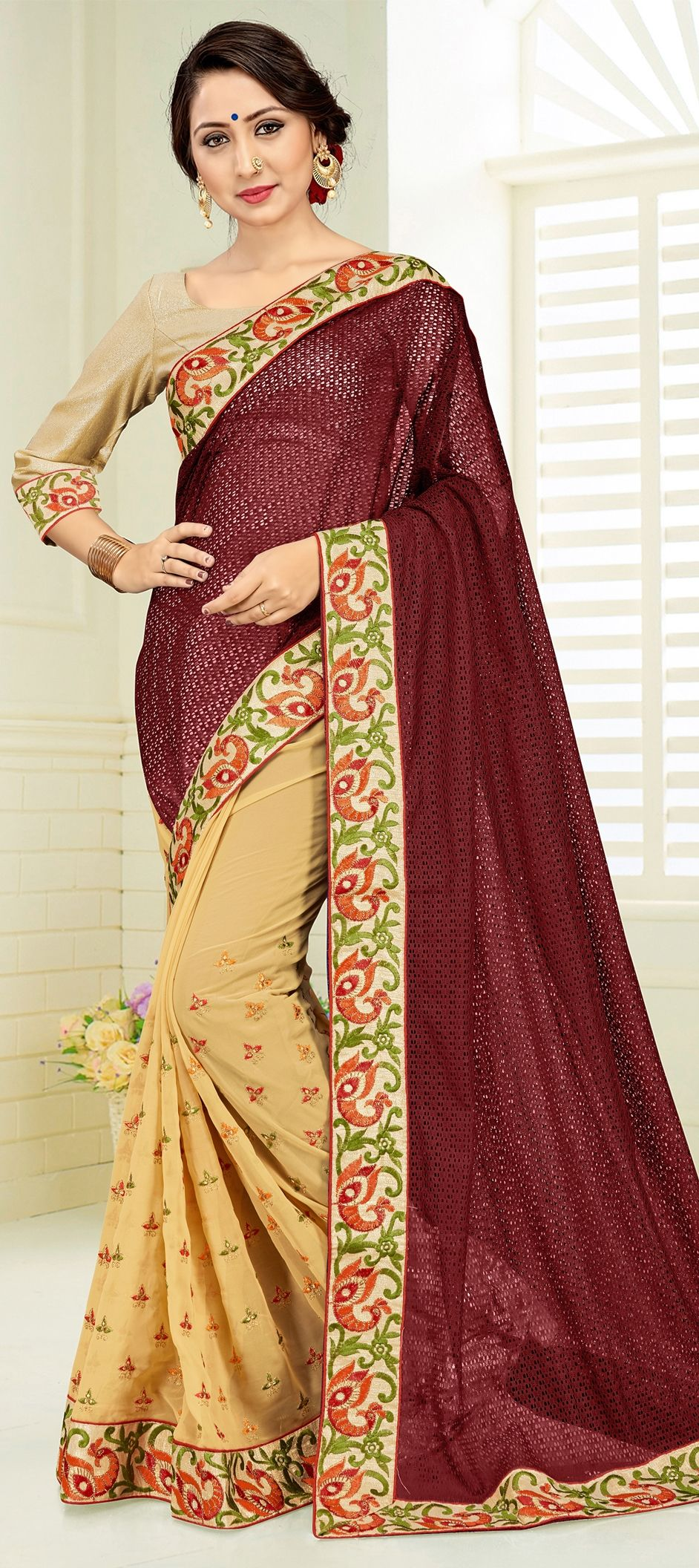 8bbc0f2f5a 1515867: Party Wear Beige and Brown, Red and Maroon color Faux ...