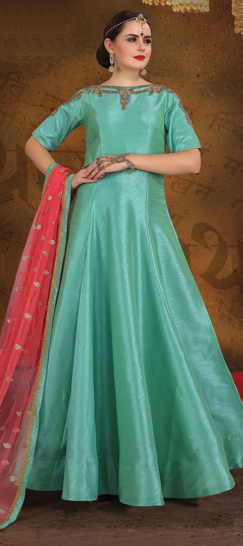 7be48c1fac 1516640  Party Wear Blue color Art Silk fabric Gown