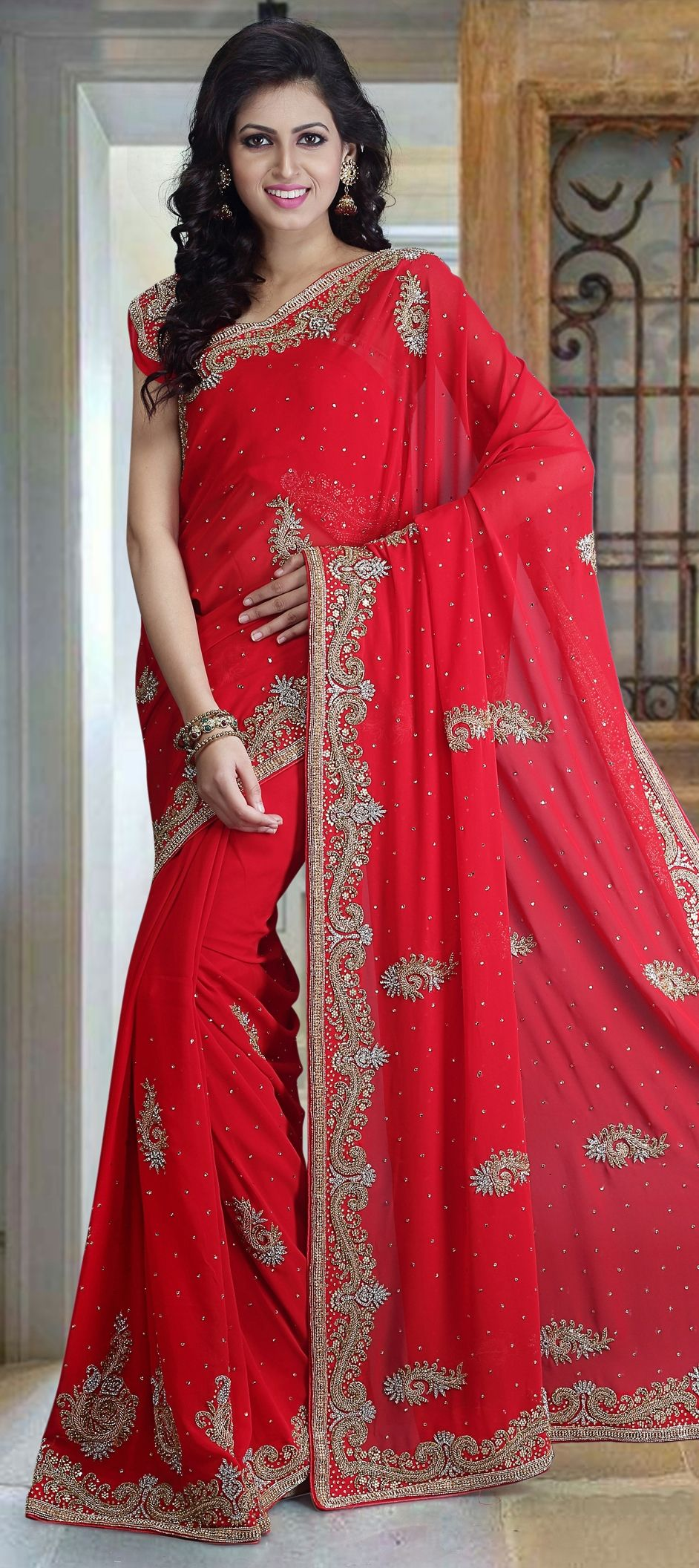 783d8d56fb 1517446: Bridal, Wedding Red and Maroon color Georgette fabric Saree