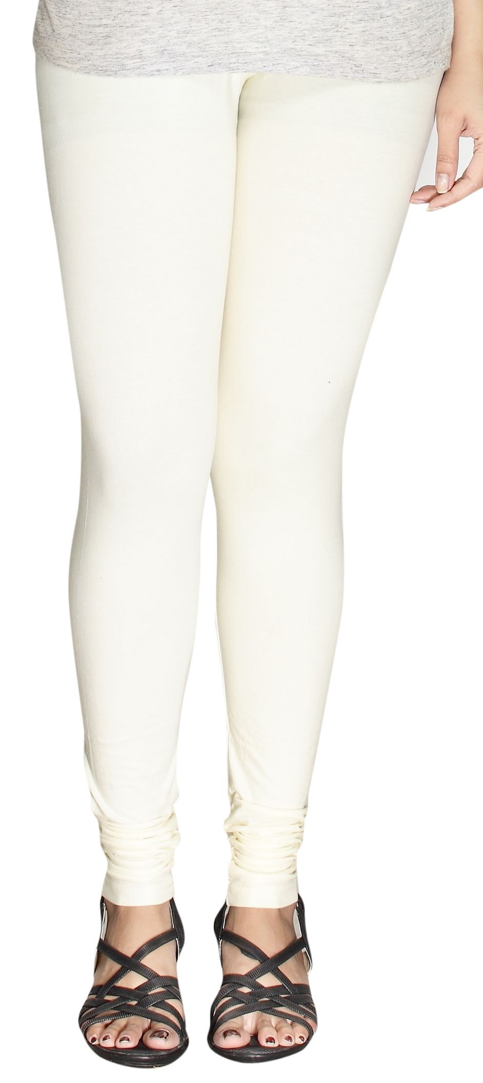 64e80383b186c 1518755: Casual White and Off White color Cotton fabric Leggings