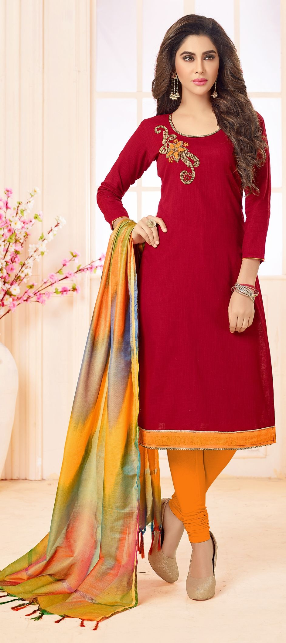 da087355f 1520451  Party Wear Red and Maroon color Cotton